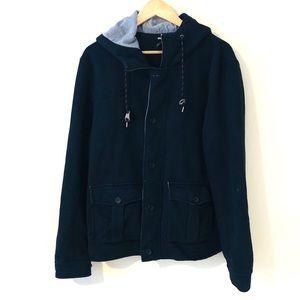 H&M Mens Hoodie Jacket Navy Blue XL